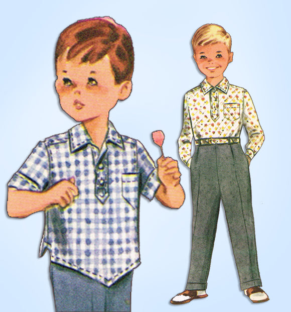 1960s Vintage McCalls Sewing Pattern 6254 Toddler Boys Shirt and Pants Size 3