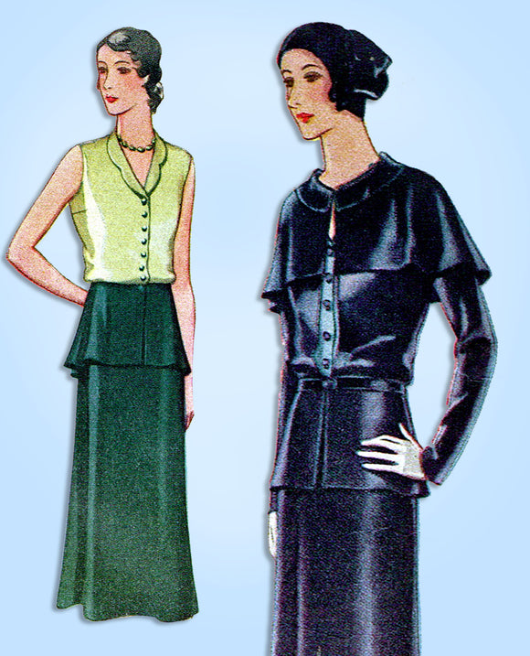 1930s Vintage McCall Sewing Pattern 6271 Uncut Misses 3 Piece Dress Size 32 Bust - Vintage4me2