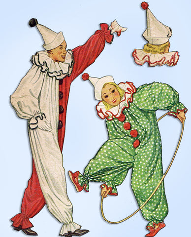1930s Original Vintage McCall Pattern 630 Uncut Clown Costume & Hat Sz 40 42 B