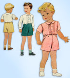 1940s Vintage McCalls Sewing Pattern 6305 WWII Toddler Boys 2 Piece Suit Size 1