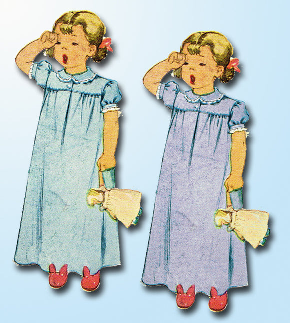 1940s Vintage McCall Sewing Pattern 6309 Little Girls WWII Nightgown Size 8