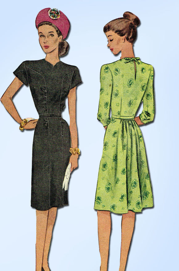 1940s Vintage McCall Sewing Pattern 6314 Misses WWII Street Dress Size 12 30B - Vintage4me2