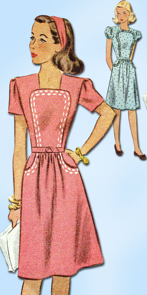 1940s Vintage McCall Sewing Pattern 6324 WWII Little Girls Dress Size 8 26 Bust - Vintage4me2