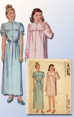 1940s Vintage McCall Sewing Pattern 6335 WWII Misses Nightgown Size SM 30 32 B - Vintage4me2