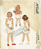 1940s Vintage McCall Sewing Pattern 6348 Uncut Toddler Girls Slip & Panties Sz 4