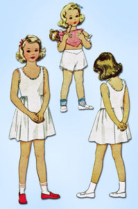 1940s Vintage McCall Sewing Pattern 6348 Uncut Toddler Girls Slip & Panties Sz 4 - Vintage4me2