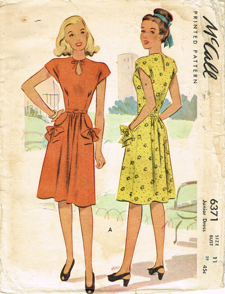 2e8460944aa ... 1940s Vintage McCall Sewing Pattern 6371 Junior Misses Keyhole Dress  Size 29 Bust