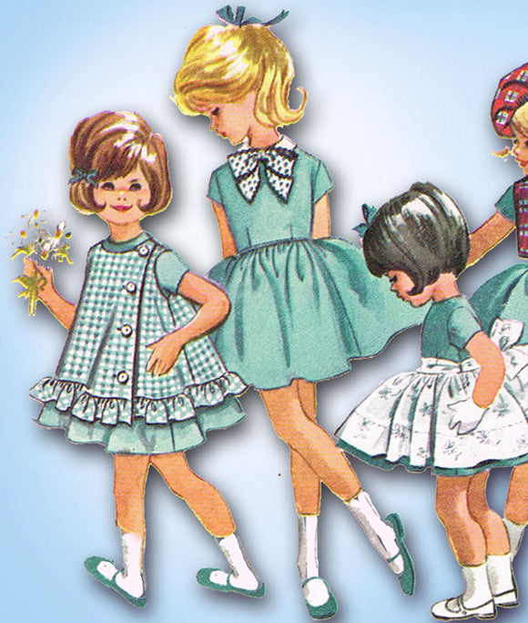 1960s Vintage McCalls Sewing Pattern 6417 Toddler Girls Easy Accessory Dress Sz5 - Vintage4me2