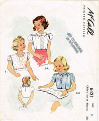 1940s Vintage McCall Sewing Pattern 6421 WWII Toddler Girls Blouse Set Size 2