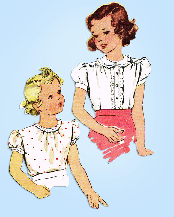 1940s Original Vintage McCall Sewing Pattern 6421 Toddler Girls Blouse Set Sz 4 - Vintage4me2