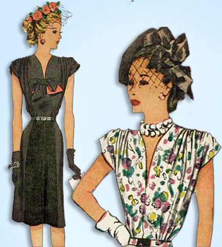 1940s Vintage McCall Sewing Pattern 6472 Uncut Misses Afternoon Dress Sz 32 Bust