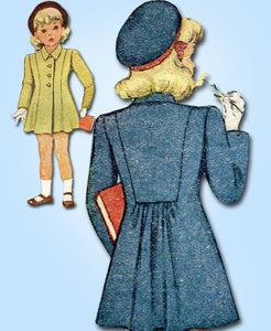 1940s Vintage McCall Sewing Pattern 6484 Little Girls Princess Cut Coat Size 8 - Vintage4me2