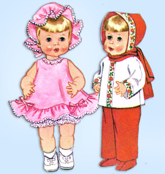 McCall's 6513: 1960s 19-21 Inch Talking Doll Clothes Set Vintage Sewing Pattern - Vintage4me2