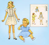 1940s ORIG Vintage McCalls Sewing Pattern 6514 Toddler Girls Tucked Dress Sz 3