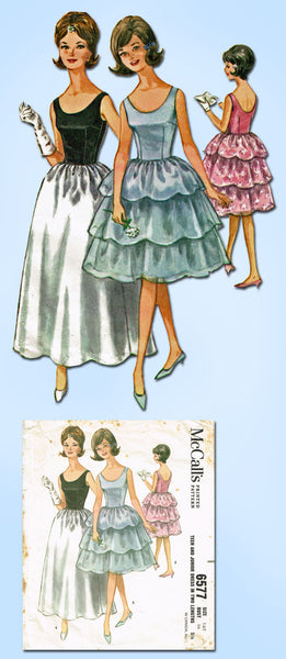 1960s Vintage McCalls Sewing Pattern 6577 Teen Misses' Prom Dress Size 16 36B
