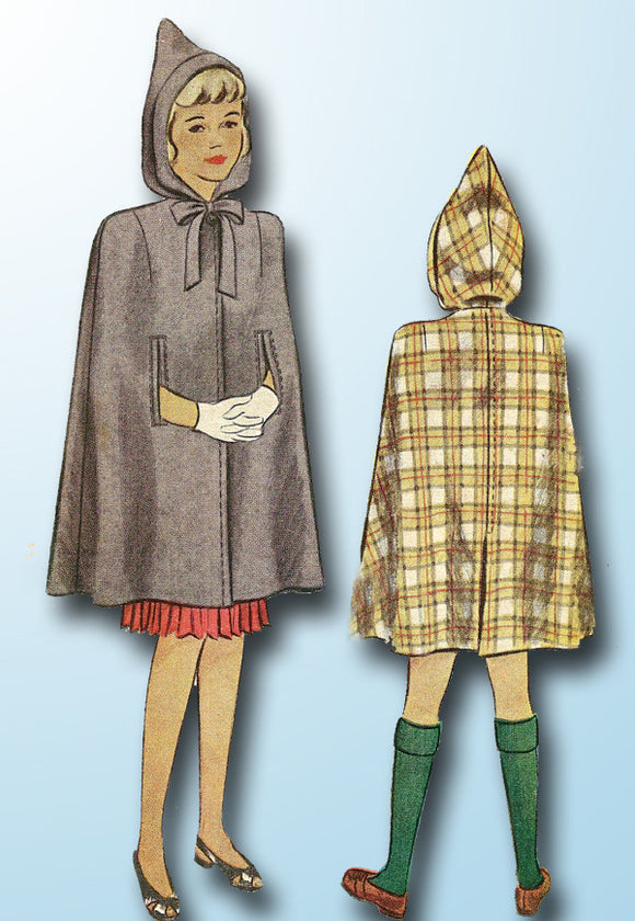 1940s Vintage McCall Sewing Pattern 6631 Toddler Girls Hooded Cape Size 6 24B - Vintage4me2