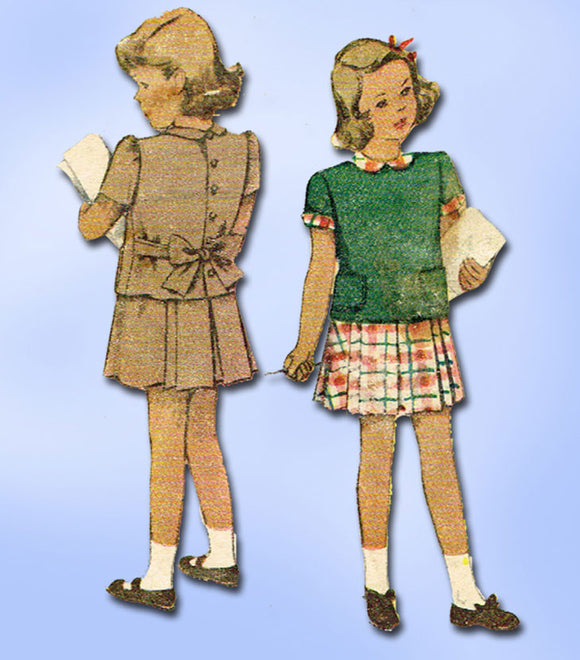1940s Vintage McCall Sewing Pattern 6635 Toddler Girls 2 Piece Dress Size 4 23B - Vintage4me2