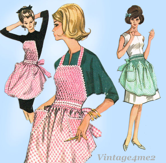 McCall's 6664: 1960s Cute Gingham Smocked Apron Fits All Vintage Sewing Pattern