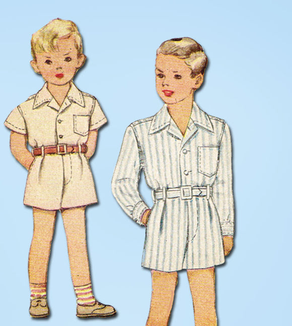 1940s Vintage McCall Sewing Pattern 6671 Uncut Toddler Boys Suit Size 6 24 Bust - Vintage4me2