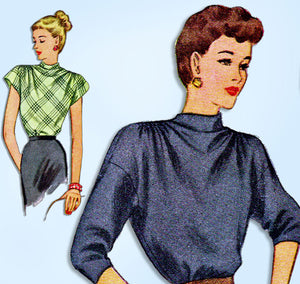 1940s Vintage McCall Sewing Pattern 6690 Misses Back Button Blouse Size 32 Bust