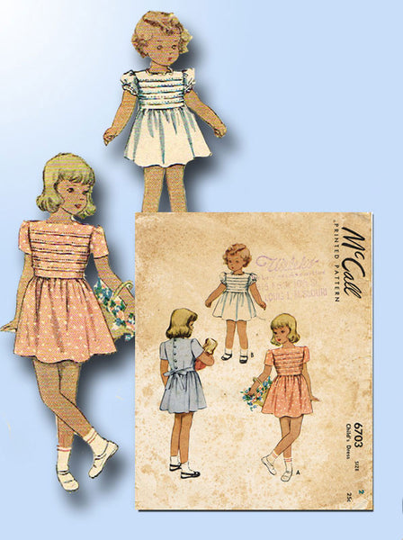 1940s Vintage McCall Sewing Pattern 6703 Toddler Girls Tucked Dress Size 2 21B - Vintage4me2