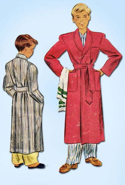1940s Vintage McCall Sewing Pattern 6704 WWII Boy's Bathrobe Size 12 - Vintage4me2