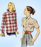 1940s Vintage McCall Sewing Pattern 6709 Misses WWII Casual Shirt Size 14 32B - Vintage4me2