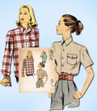 1940s Vintage McCall Sewing Pattern 6709  Uncut Misses Casual Shirt Sz 36 Bust