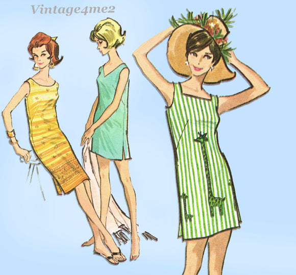 1960s Vintage McCalls Sewing Pattern 6740 Uncut Misses Easy Sun Dress Sz 34 36 B