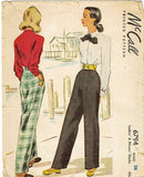 1940s Vintage McCall Sewing Pattern 6794 Misses Trousers or Slacks Size 28 Waist - Vintage4me2
