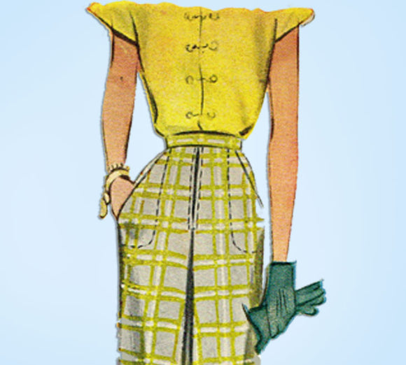 1940s Original Vintage McCall's Sewing Pattern 6821 Uncut Womens Day Skirt 28 W -Vintage4me2