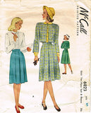 1940s Vintage McCall Sewing Pattern 6823 Little Girls Suit & Blouse Size 10 28B - Vintage4me2