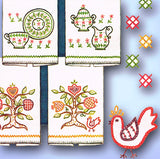 1960s Vintage McCall Embroidery Transfer 6836 Uncut Easy Crewel Tea Towel Set