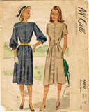 1940s Vintage McCall Sewing Pattern 6902 Misses Street Dress Size 16 34 Bust - Vintage4me2