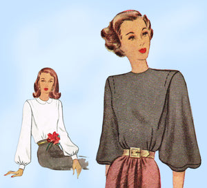McCall 6923: 1940s Misses Blouse w Puff Sleeves Sz 34 B Vintage Sewing Pattern - Vintage4me2