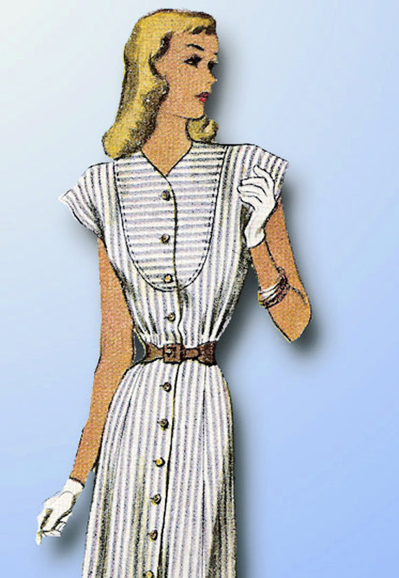 1940s Vintage McCall Sewing Pattern 6941 Misses Street Dress Size 14 34 Bust - Vintage4me2