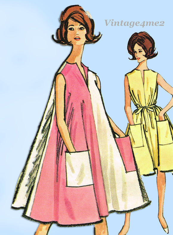 1960s Vintage McCalls Sewing Pattern 6944 Easy Uncut Misses Tent Dress Size 30 to 31 B