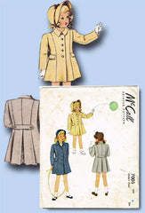 1940s Vintage McCall Sewing Pattern 7005 Toddler Girls Princess Coat Size 6 - Vintage4me2