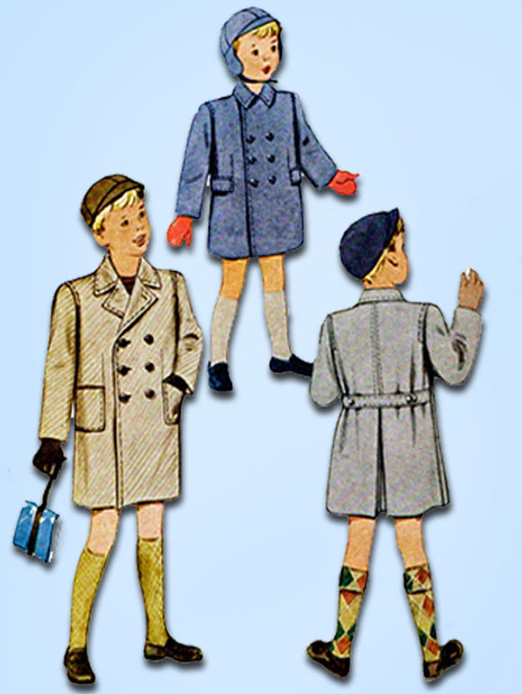 1940s Vintage McCall Sewing Pattern 7009 Uncut Toddler Boys Over Coat Size 2 21B - Vintage4me2
