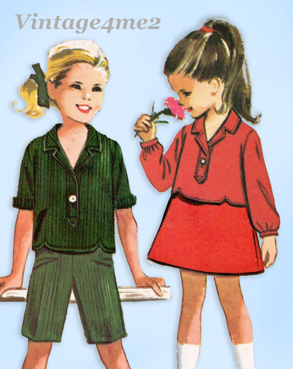 1960s Vintage McCalls Sewing Pattern 7014 Uncut Toddler Girls Play Clothes Sz 6