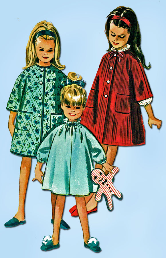 1960s Vintage McCalls Sewing Pattern 7048 Easy Toddler Girls Nighty Robe Sz 4-5