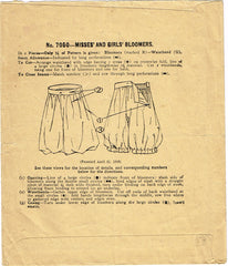 1910s Original Vintage McCall Pattern 7050 Toddler Girls Bloomers or Drawers Sz4