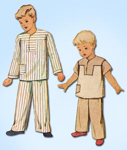 1940s Vintage McCall Sewing Pattern 7070 Toddler Boys 2 PC Pajamas Size 4 23B