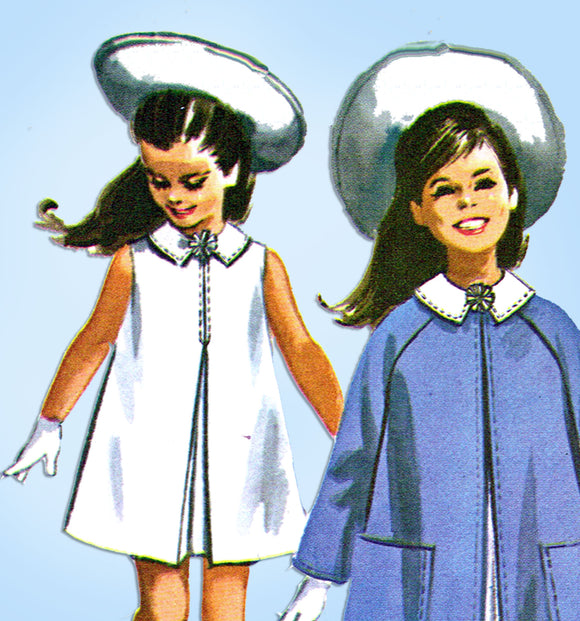 1960s Vintage McCall's Sewing Pattern 7170 Uncut Little Girls Dress & Coat Sz 12