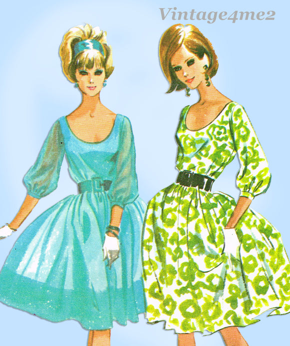 1960s Vintage McCalls Sewing Pattern 7186 Easy Misses Dress Sz 34 Bust