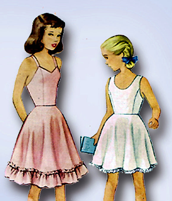 1940s Vintage McCall Sewing Pattern 7273 Little Girls Petticoat Slips Size 10