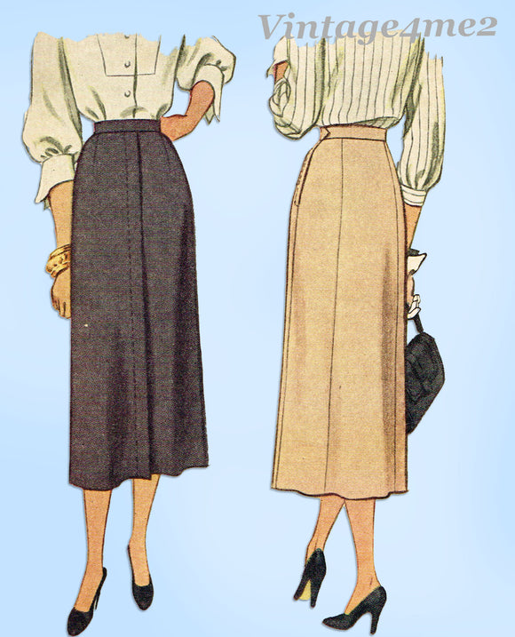 1940s Vintage McCall Sewing Pattern 7275 Easy Misses Slender Day Skirt Sz 34 W