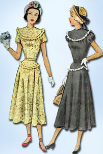 1940s Vintage Misses Street Dress 1948 McCall VTG Sewing Pattern 7316 Size 15