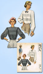 1940s Vintage McCall Sewing Pattern 7335 Uncut Misses Tucked Blouse Size 14 32B