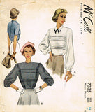 1940s Vintage McCall Sewing Pattern 7335 Uncut Misses Tucked Blouse Size 14 32B - Vintage4me2